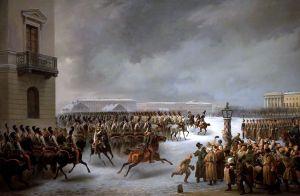 Au_service_des_Tsars_-_inv._ЭPЖ-2379_-_Attaque_du_carré_des_décabristes_par_le_régiment_des_gardes_à_cheval_le_14_décembre_1825